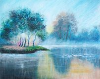 Original oil pastel painting - The Dawn Haze - Impressionism - Modern Art stock illustration