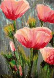 Flowers - Field Poppies - Original Oil Pastel Painting - Modern Art royalty free illustration