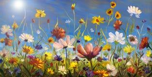Original- olje- målning av blommor, härligt hägringfält på kanfas Vildblommor på bakgrund för blå himmel Modern impressionism imp Royaltyfri Bild