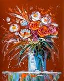 Original- olje- målning av den härliga vasen eller bunken av nya rosor Royaltyfria Bilder