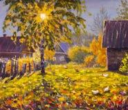 Original- olje- målning på kanfas - färgrik målning - modern impressionismkonst Royaltyfria Foton