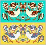 Original oriental decorative ethnic bird with flowers, ethno ukr Royalty Free Stock Image