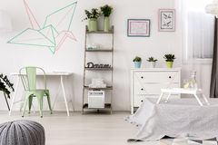 Original origami decoration in bedroom Royalty Free Stock Photography