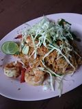 Original Padtai. Thai food,  noodle fried with shrimp and tamarind sauce. Taste of Thailand Royalty Free Stock Images