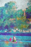 Original painting. Of children playing at beach sandgate brisbane Royalty Free Stock Images