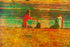 Original painting. Of children playing at beach sandgate brisbane Royalty Free Stock Photography