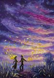 Original Painting abstract man and woman are dancing on sunset. Night, nature, landscape, purple starry sky, romance, love, feelin Royalty Free Stock Image