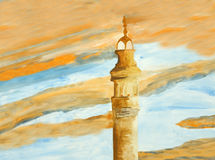 Original painting of Al Fateh Minaret at sunset Stock Photography