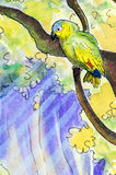 Original painting of an Amazon parrot. Original watercolor painting of an Orange-winged Amazon parrot perching in a tree Royalty Free Stock Photography