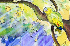 Original painting of an Amazon parrot. Original watercolor painting of an Orange-winged Amazon parrot perching in a tree Stock Photography