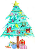 Original painting of a beautiful christmas tree Royalty Free Stock Photography