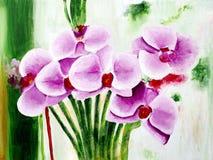 Original painting of beautiful purple phalaenopsis flowers stock photos