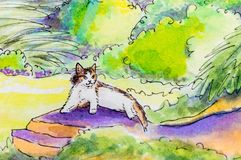 Original painting of a cat lying down outside. Royalty Free Stock Images