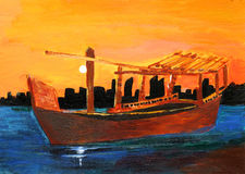 Original painting of a Dhow on sunset, a child art Stock Photos