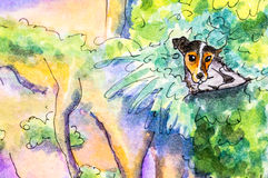 Original painting of a dog lying in bushes. Stock Photos