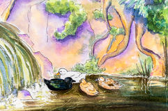 Original painting of ducks on water. Royalty Free Stock Photo