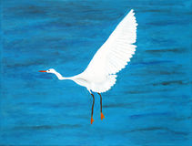 Original painting of a flying Heron Stock Photography