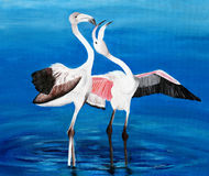 Original painting of Greater Flamingos courtship, a child art Stock Photos