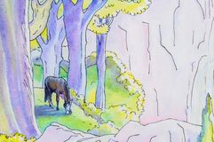 Original painting of a horse in a forest. Royalty Free Stock Photo