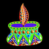Original painting with jewels and pearls of diwali lantern diya, Royalty Free Stock Images
