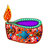 Original painting with jewels and pearls of diwali lantern diya, Stock Photo