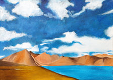 Original painting of Pangong Lake, Ladakh,  a chil Stock Photos