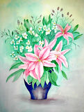 Original Painting of Lilies. This is an original watercolor painting that I painted of pink lilies in a purple vase royalty free illustration
