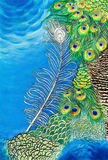 Original painting of peacock feathers. Original abstract watercolor painting of peacock feathers Royalty Free Stock Images
