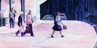 Original painting of people crossing a road in summer. Royalty Free Stock Image