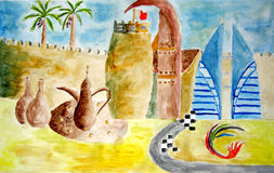 Original painting showing Bahrain heritage Royalty Free Stock Photo