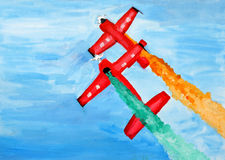 Original painting of stunts pilots in air. Painting of Stunts pilots from The Champions Aerobatic Show (TCAS) perform on December 16, 2011 at Bahrain Royalty Free Stock Photos