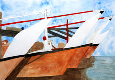 Original painting of Traditional Dhows in  harbour Stock Image