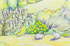 Original painting of two white rabbits outside. Stock Images
