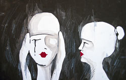 Original painting of two woman Stock Photo