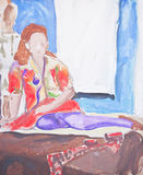Original painting of woman sitting on bed Royalty Free Stock Photos