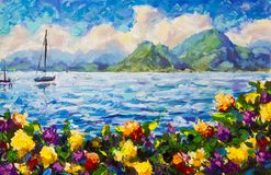 Painting Warm summer seascape. A boat in the blue ocean. Beautiful green mountains and fluffy yellow clouds in the background. Ora. Original palette knife royalty free stock photo