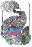 Original peacock line art drawing Stock Photography
