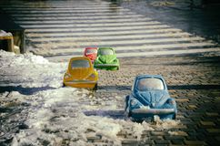 The original pedestrian crossing in the city of Odessa. Beach Langeron, Ukraine. Stone copies of cars of different colors on the pedestrian path royalty free stock image