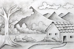 Original pencil sketch of a landscape Royalty Free Stock Image