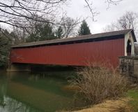 Covered bridge in red royalty free stock photos