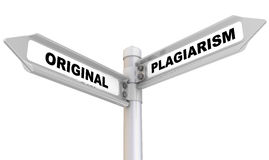 Original and plagiarism. Road sign Stock Photo