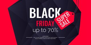 Original poster for Black friday sale. Abstract polygonal background. Low poly design. Stock Images