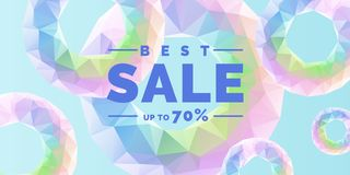 Original poster for discount. Abstract polygonal background. Low poly design. Stock Photos