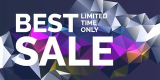 Original poster for discount. Abstract polygonal background. Low poly design. Stock Photography