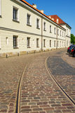 Original pre-war tram tracks on Bohaterow Getta Street in Warsaw, Poland. Stock Images