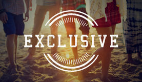 Original Premium Excellence Quality Label Concept. Diverse people on the beach original premium excellence Royalty Free Stock Photography