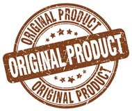 Original product brown stamp. Original product brown grunge round stamp isolated on white background Royalty Free Stock Images