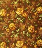 Original- prydnad för textiltyg av de guld- blommorna Bilskrället hand-målas med gouache stock illustrationer