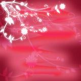Original- röd texturerad bakgrund med glödande vita blommor i hörnet Royaltyfria Bilder