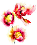 Original- röda blommor Arkivbilder